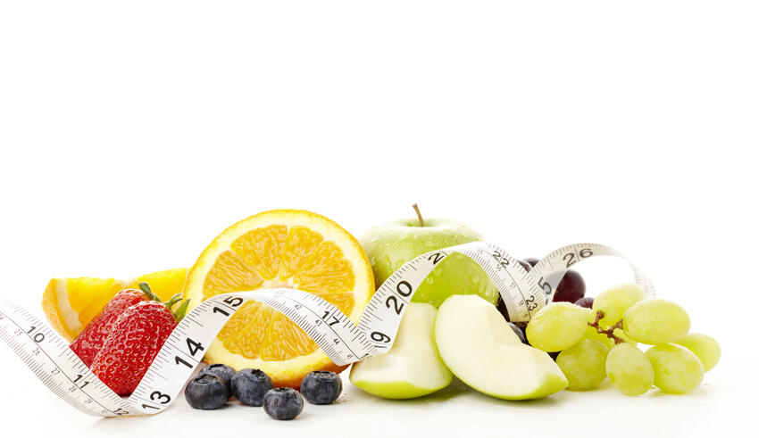 Fruit with measuring tape