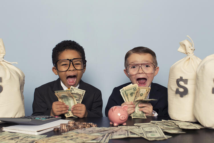 Young Business Children Holding money
