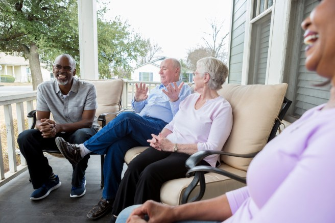 Group of people discussing their retirement income strategy