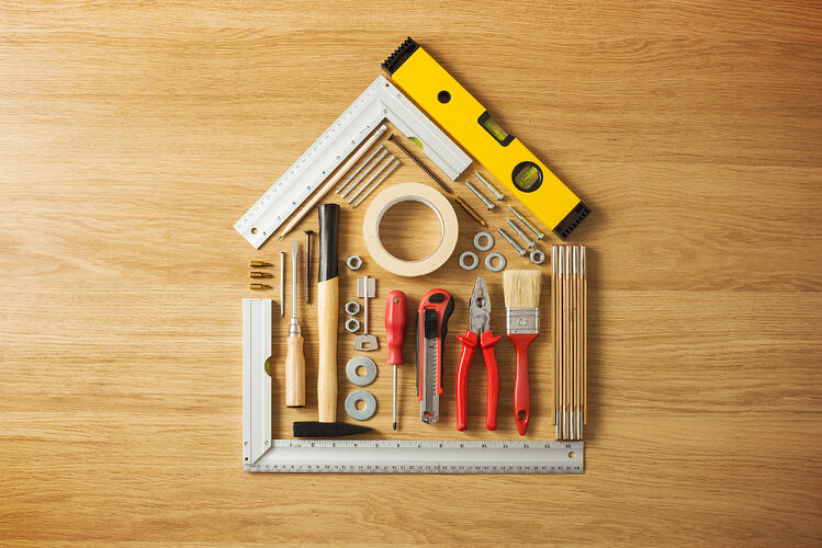 Recent Hurricanes and California Wildfires, Home with repair tools