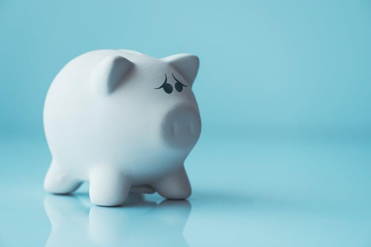 Unhappy piggy coin bank