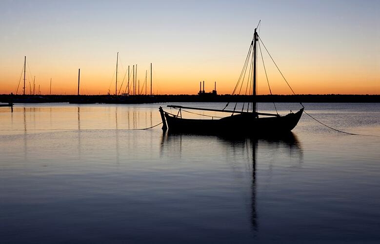 A boat during sunset
