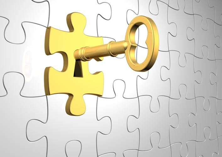 Retirement Plan Gold key on the puzzle part.