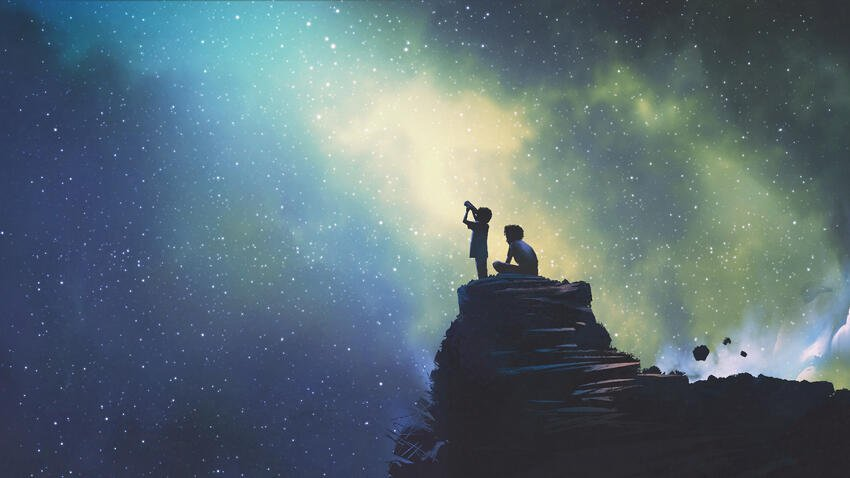 two brothers looking at stars and looking beyond fees