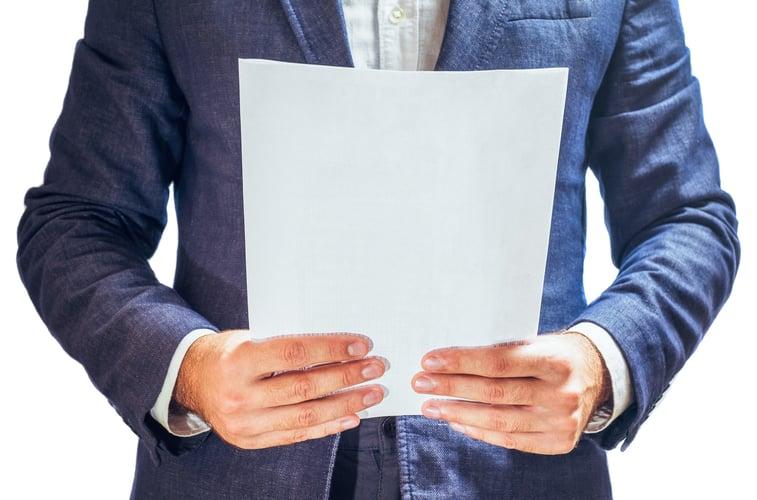 Businessman reading project documentation
