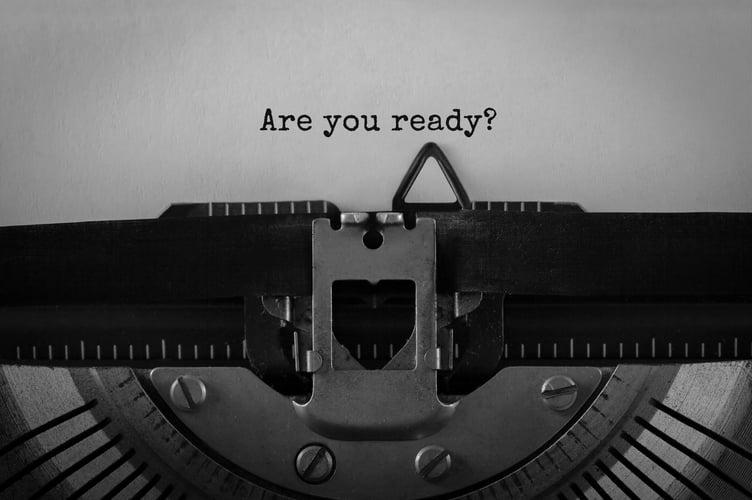 Typewriter asking are you ready