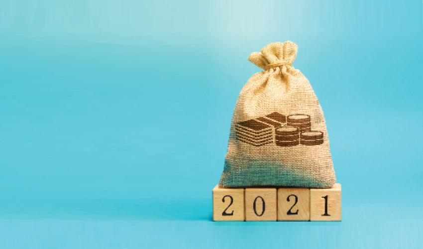A sack containing 2021 tax saver's credit savings