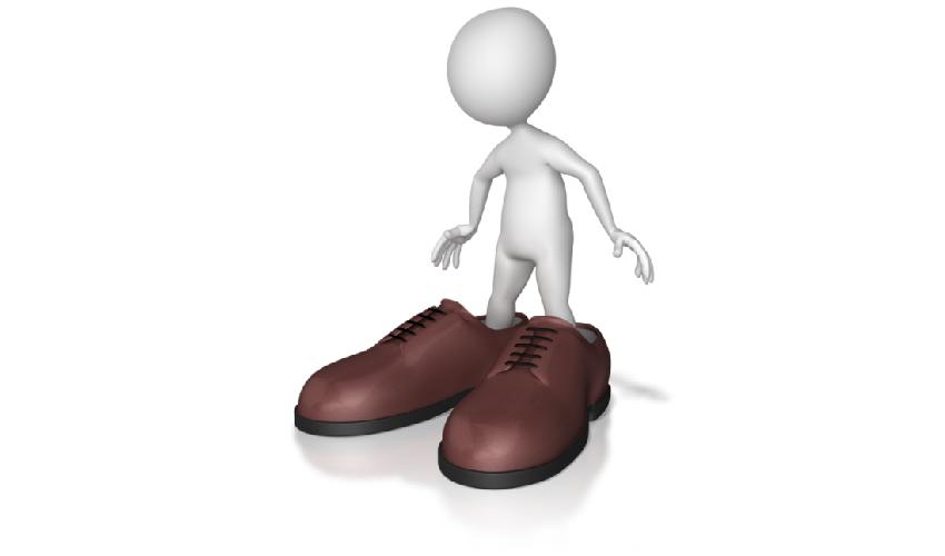 Cartoon man in large shoes, DC Plan