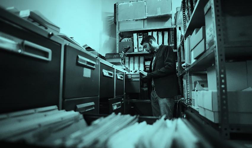 person sorting files